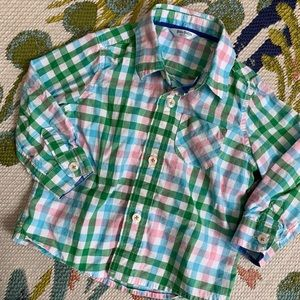 Baby Boden Pink Blue & Green Plaid Button Down